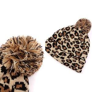 Leopard Pom Beanie Knit Winter Hat (Beige)